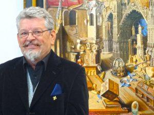 """Michael Lassel vor seinem Gemälde """"Bau und Verfall der Kathedrale"""